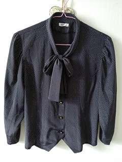 Vintage black silk-like japanese tie bow blouse