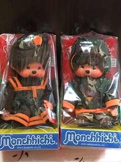 Monchhichi monchichi 絕版迷彩服一對