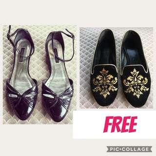 ZARA WOMAN D'ORSAY BLACK PATENT SHOES WITH FREE CHARLES AND KEITH VELVET BROCADE