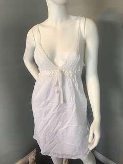 White summer cotton crochet festival dress