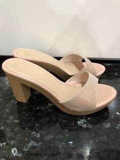Nude Beige Shine Sparkle Xmas Open Toe High Heels Slip on Women Ladies Shoes Fashion Dinner