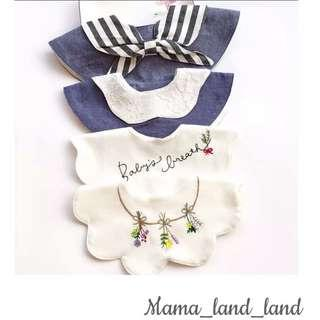 Lovely special embroidered newborn baby cotton bibs