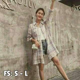 SALE!! Korean Style Plaid Polo Cardigan (Freesize: Loose style, fits S - L; Fits up to 30 waistline)
