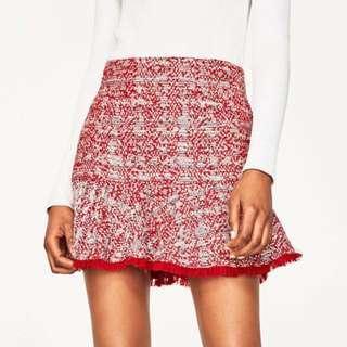 Zara red tweed skirt XS 紅色荷葉邊短裙
