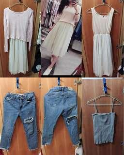 四件一組,刷破牛仔褲M號,紗裙 針織上衣 套裝