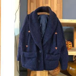 正韓 羊毛 外套 V領外套 厚毛外套 口袋 短版外套 寶藍色