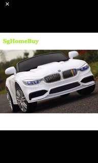 Instock - white bmw kids electric car new