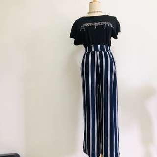 Wide legged striped cotton pants