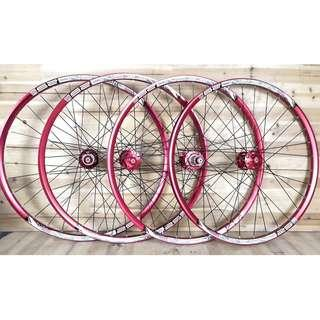(Instock) Custom Build Chosen 4591/4597 Loud sound/Smooth Wheelset with Sun Ringle INFERNO 25 Welded MTB Rim (Red Color Set)