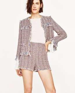 Zara 2 pieces set multicolour tweed jacket and shorts set Xs 彩色針織外套短褲套裝