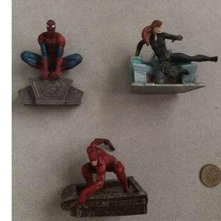 Marvel spiderman,black widow,daredevil figure