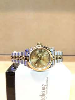 Pre Owned Rolex Oyster Datejust 69173 Champagne Gold Dial Automatic Steel Casing Bracelet
