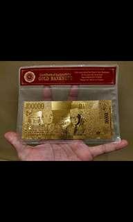 Gold Banknote Indonesia 100.000 Uang Kertas Rupiah