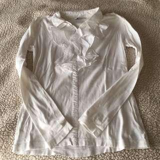 Ruffled White Collared Sweater / Pullover