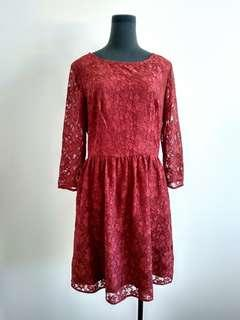 French connection burgundy lace dress