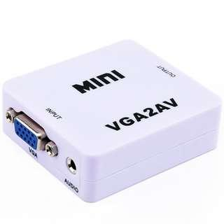🚚 Mini HD Video Converter Box  VGA to AV Video 480P 720P 1080P VGA2AV Support NTSC PAL Output adapter