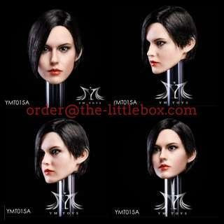 YMTOYS  Head model 1/6  锐儿 YMT015 YMT015A Black short hair YMT015B White hair YMT015C Red hair Female Rooted Head