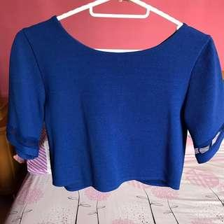 Cobalt blue mesh sleeved top