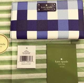 BNWT - Kate Spade Grove Street Stacy Pacific Blue Gingham Snap Closure Wallet