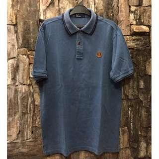 Fred Perry Tipped Blue Polo Leather Patch