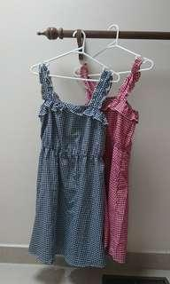 gingham picnic midi dresses with ruffles size 8 s