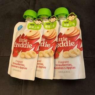 Little Freddie baby organic food strawberries, banana and apple