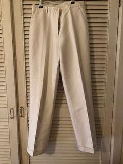 Tailored white silk pants.