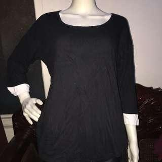 LIZ CLAIBORNE black longsleeve blouse medium