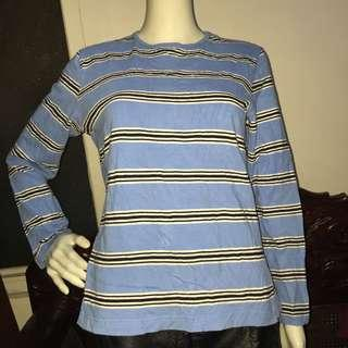 NO BRAND blue stripes longsleeve blouse medium