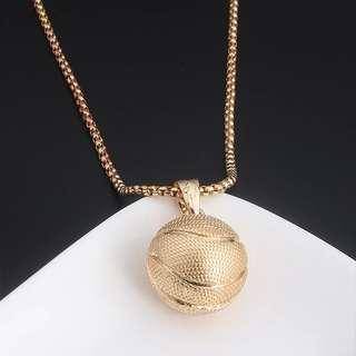Men's Gold Basketball Necklace Hip Hop
