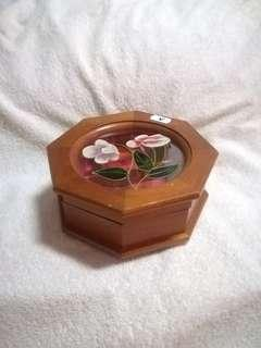 Authentic Vintage Mele Hexagon Wooden Jewellery Box with Floral Glass