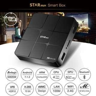 Preloaded STARmax Smart TV Box Amlogic S905W Android 7.1 1GB/2GB RAM 8GB/16GB ROM KODI 4K TV BOX Support YouTube Netflix WIFI Bluetooth LAN WIFI STAR Max T96 Mars