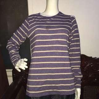 COLDWATER CREEK lavender stripes longsleeve blouse medium