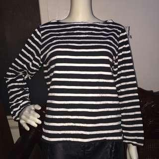 NO BRAND black&white longsleeve blouse medium