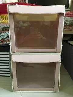 粉色塑料直取式收納櫃 透明玩具箱子衣服整理箱 2個