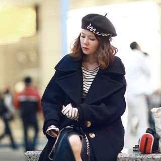 韓國 DABA GIRL BLACK LABEL 藏青色 大翻領 羊毛 廓形 繭型 寬鬆 中長大衣
