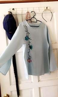 Light Blue Flower Embroidered Flared Sleeves Top/Blouse