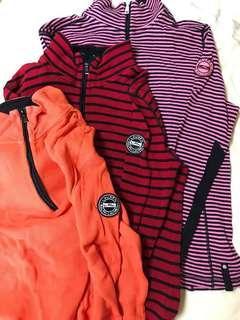 Set of 3 Mock Turtle Neck Long Sleeve Cotton Shirts