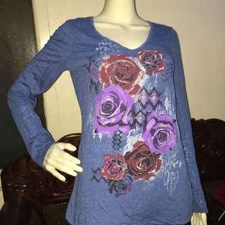 ROCKER GIRL blue longsleeve blouse with floral design XL