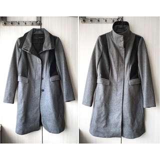 ZARA 拼接 拼皮 灰色 羊毛大衣 中長款大衣 翻領 立領 二穿 長版羊毛西裝外套 暗黑系 英倫大衣
