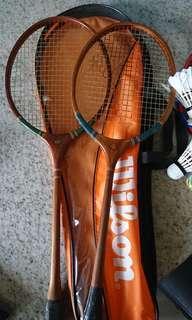 Wooden badminton racket