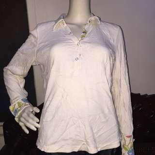 LIZ CLAIBORNE white longsleeve blouse with floral design large