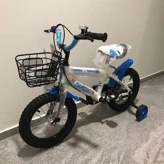 Blue white kids bicycle 14 inch size