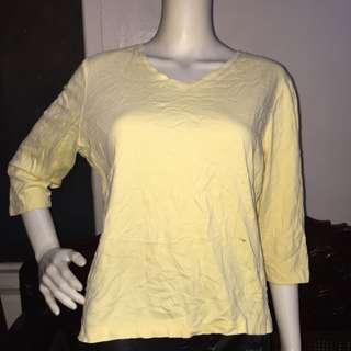 L.L. BEAN plain yellow longsleeve blouse large