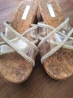 authentic staccato wedge sandals..