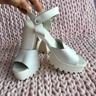 TOPSHOP white leather platform sandals