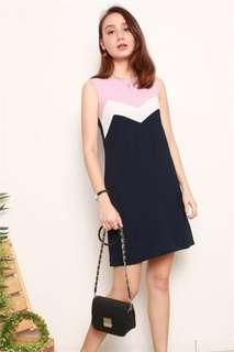 Anti clockwise Inverted colorblock detail shift dress in Navy