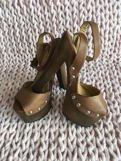 Tony Bianco brown leather platform heels