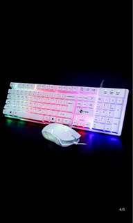 力镁GTX300 发光版键盘鼠标套装台式电脑USB有线键鼠游戏机械手感