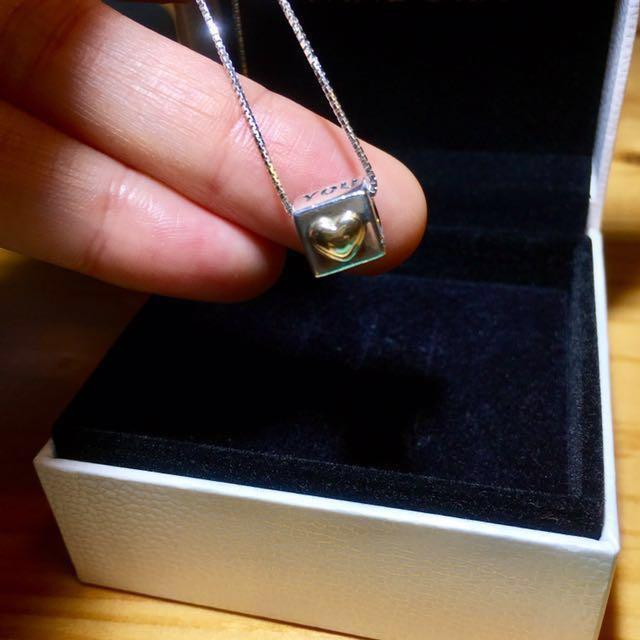 14k pandora gold heart n silver only pendant charm (without necklace)DISCONTINUED